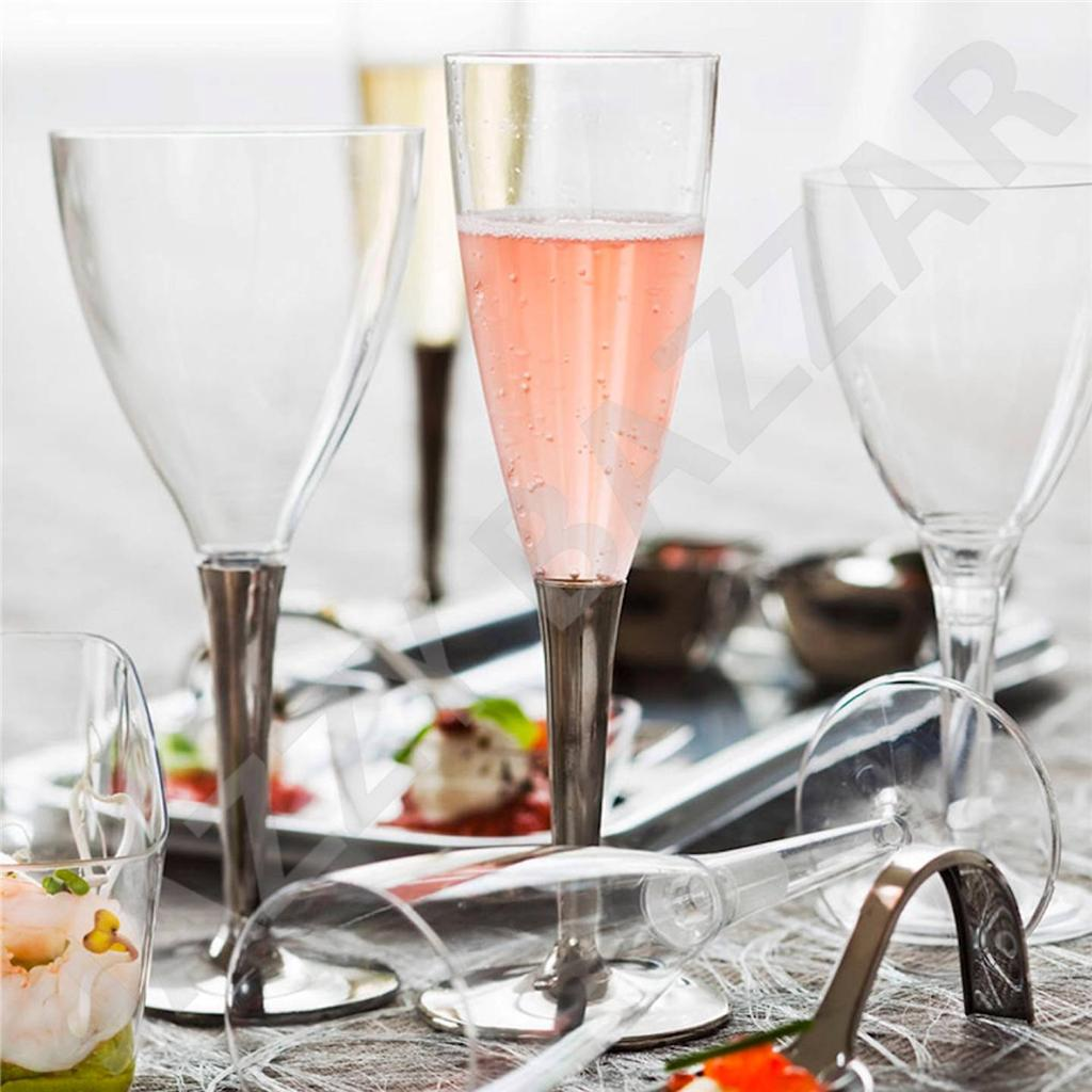 Disposable Wine Glasses With Silver Stem