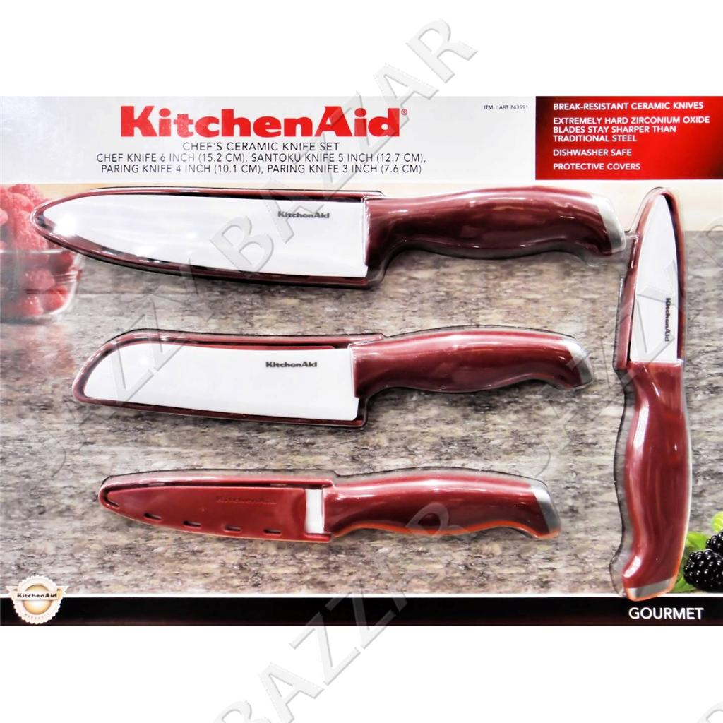 kitchenaid ceramic knife set chef 39 s blade peeler kitchen aid cutlery sharp new. Black Bedroom Furniture Sets. Home Design Ideas