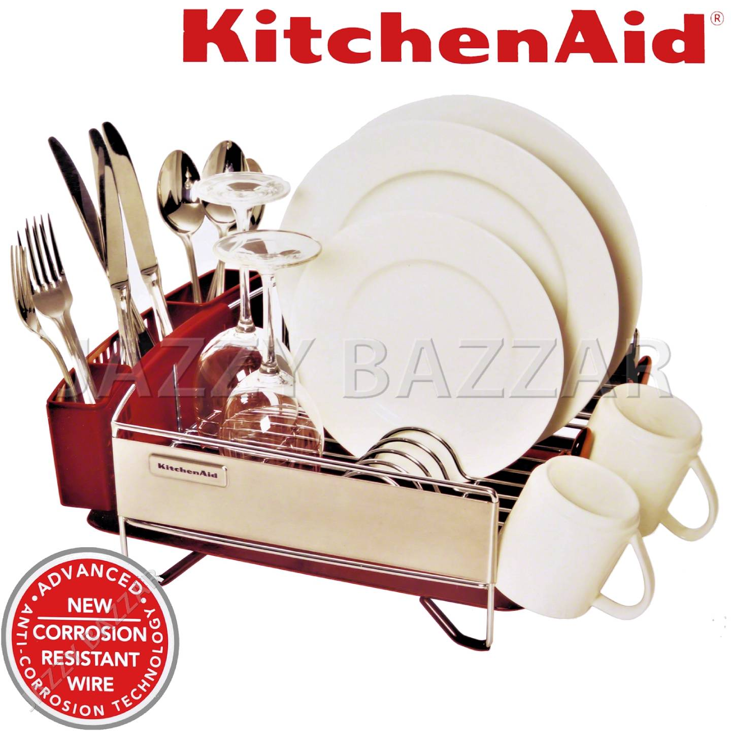 3pc Kitchen Aid Red Stainless Steel Dish Drying Rack Cutlery Drainer Tray New Ebay