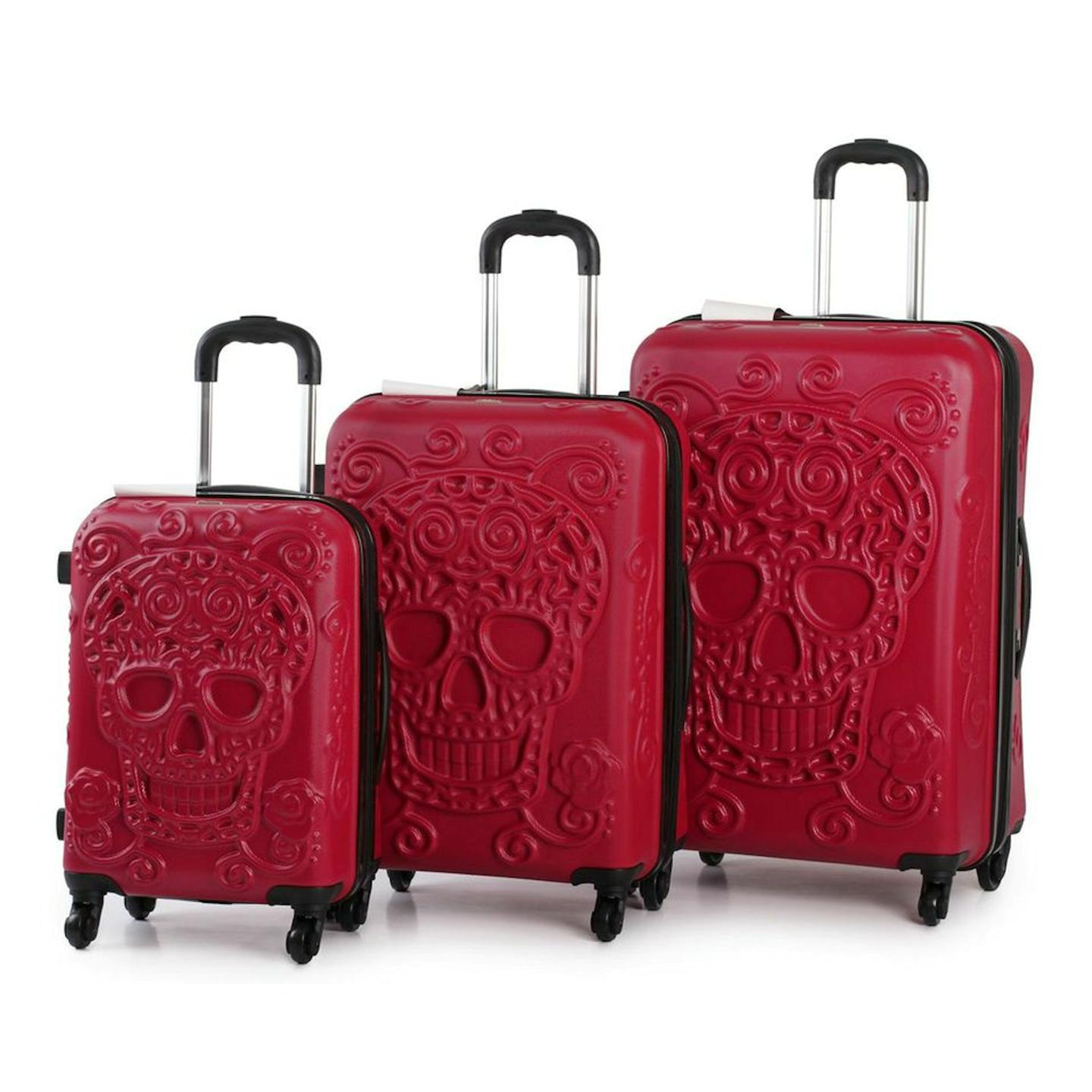 it luggage skull emboss hard shell suitcase 3pc trolley. Black Bedroom Furniture Sets. Home Design Ideas