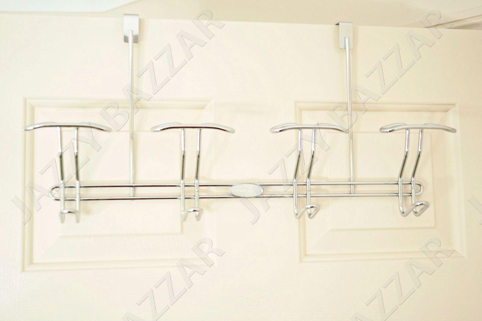 2 Over The Door Hanger 8 Hooks Cloth Garment Dress Bathroom Towel Coat Rack Set Ebay