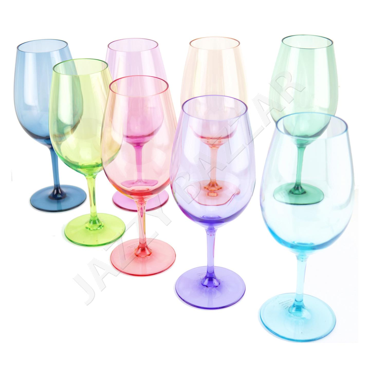 8 acrylic plastic wine glass set 680ml coloured tritan for Glass or acrylic