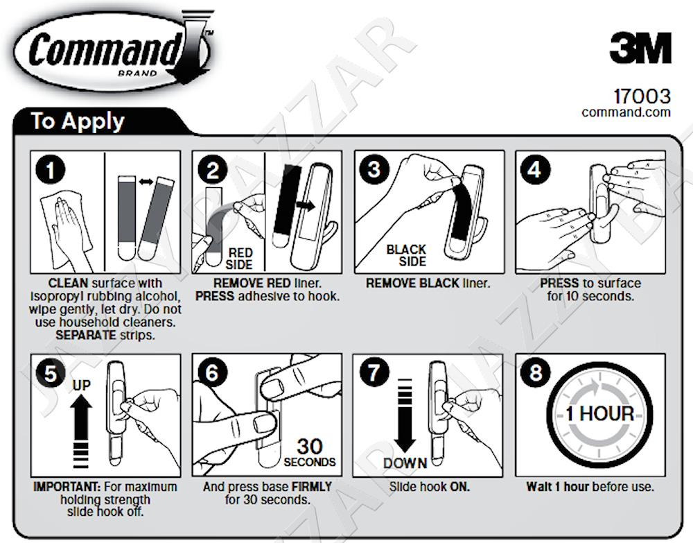 3m command hooks instructions