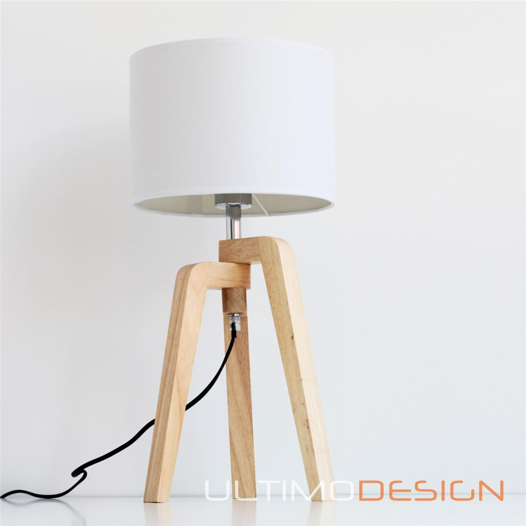 Pair of modern designer timber bedside table white lamp - Lamparas con madera ...