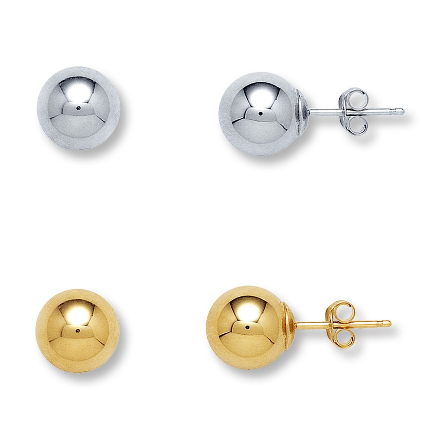 14kt solid yellow white gold ball stud earrings sizes 2