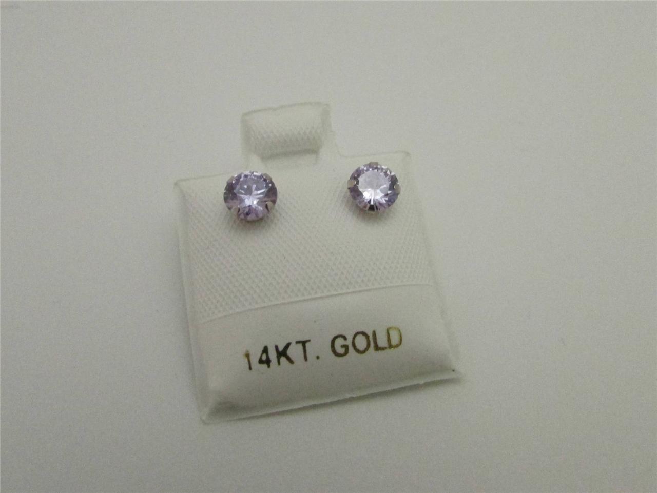 Birthstone Earrings 14kt White Gold Round Shape Stud