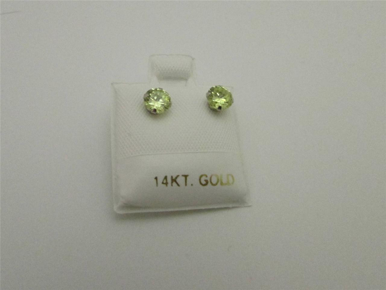 Birthstone Earrings 14kt White Gold Round Shape Stud