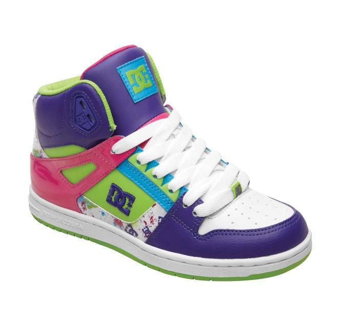 Details about DC Rebound Hi-Top Girls Shoes - White / Purple / Soft