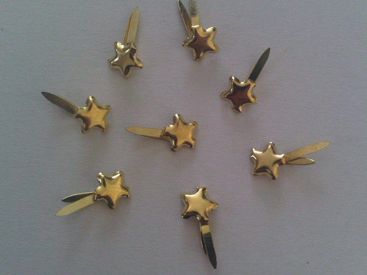 100 mini stars gold studs paper fasteners for craft for Paper fasteners wedding invitations