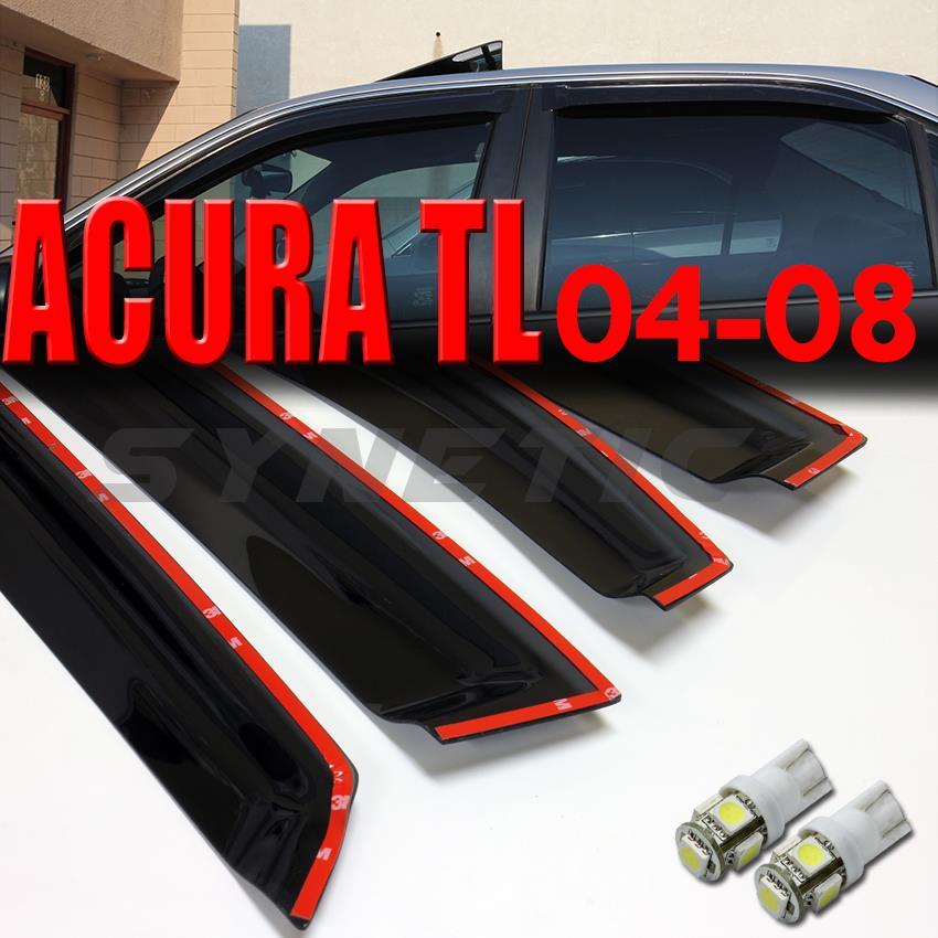 04 08 acura tl sedan 4d smoke window vent visors white t10 for 04 acura tl oem window visors