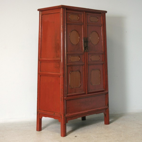 Antique Lacquered Red/Orange Chinese Cabinet, Original