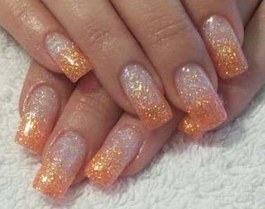 fine glitter dust bling sparkly summer orange nail art 4