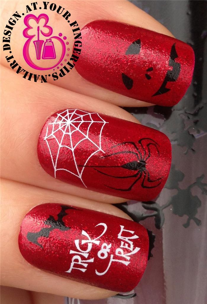 HALOWEEN NAIL ART STICKERS TRANSFERS DECALS BLOOD VAMPIRE ZOMBIE BAT ...