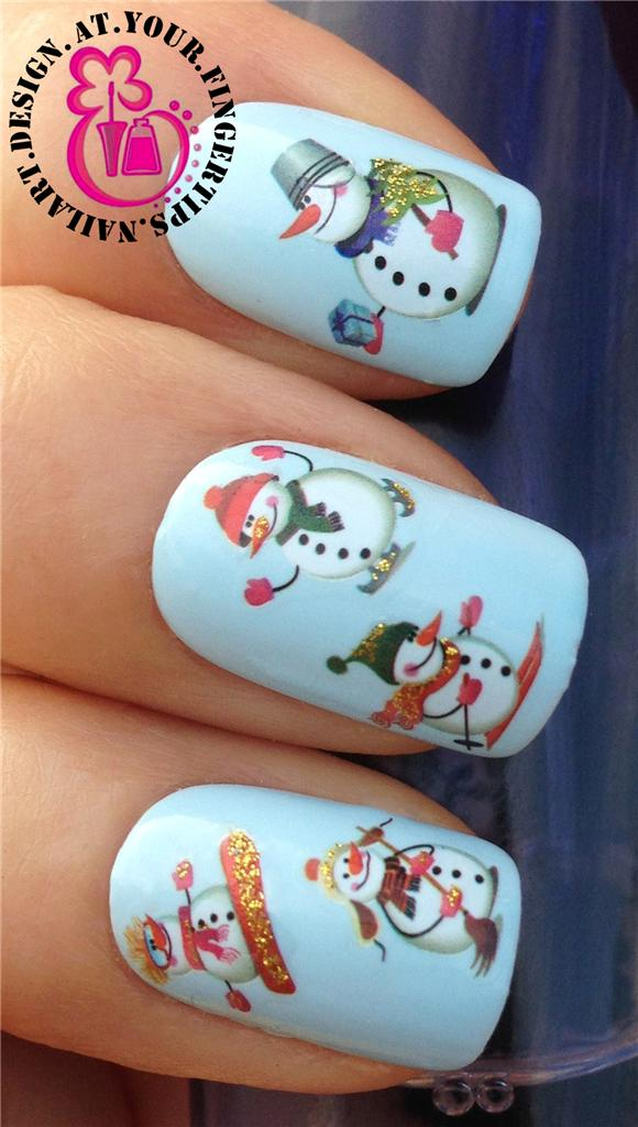 Holiday nail art decals christmas nail art stickers decals water christmas nail art stickers water decals transfers snowflakes snowmen santa bell prinsesfo Image collections