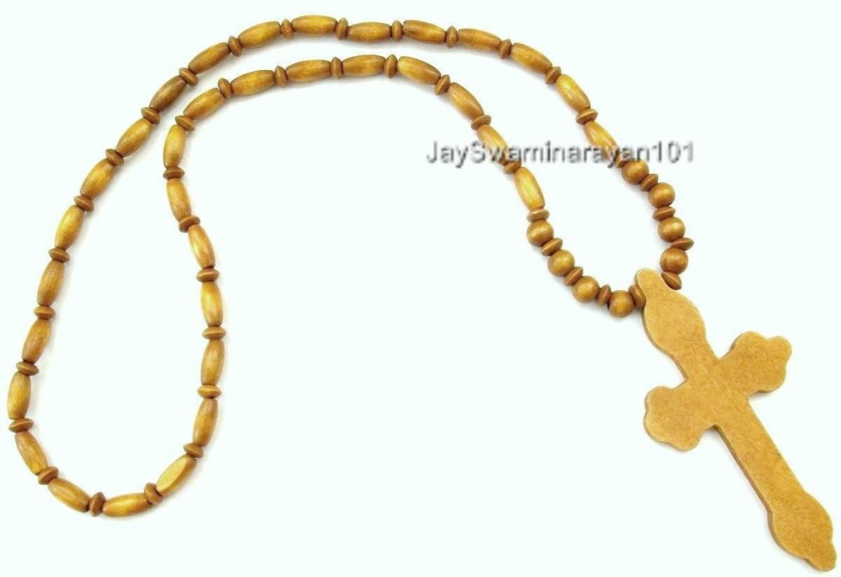 s wood beaded wooden cross necklace brown 29 quot ebay