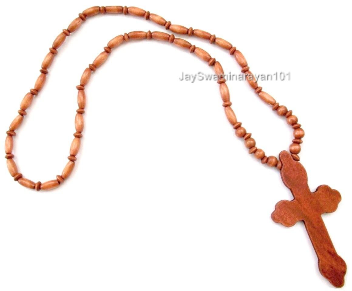 wood beaded wooden cross necklace auto car burnt