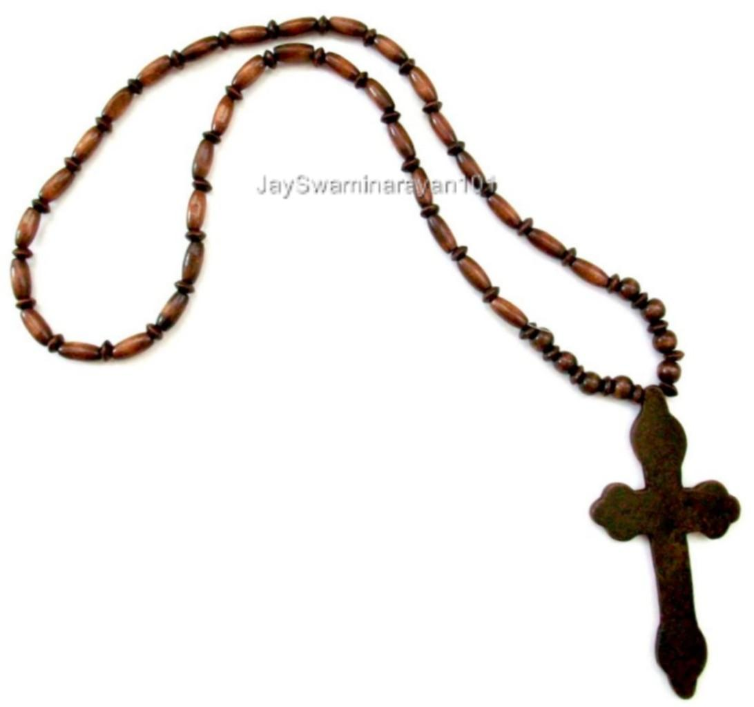 Big Wooden Beads Religious Christian Rosary Necklace With