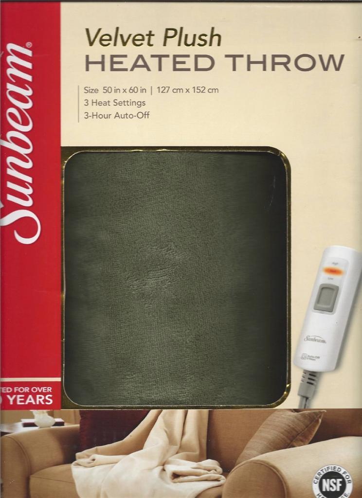 New Sunbeam Luxurious Premium Soft Velvet Plush Heated Throw Blanket 50x60 Ebay