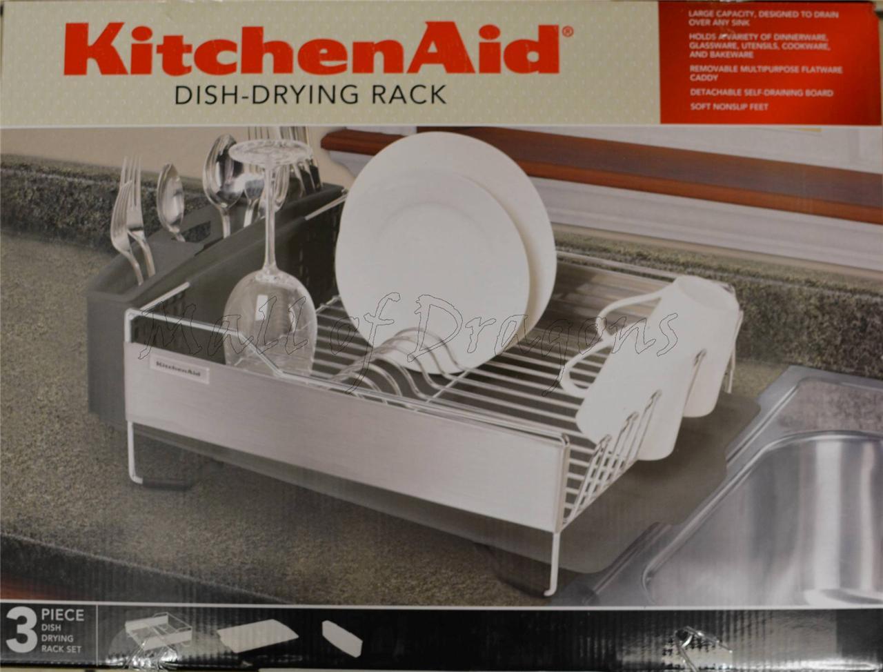 Brand New Kitchenaid Dish Drying Rack 3 Piece Black Dish Drainer