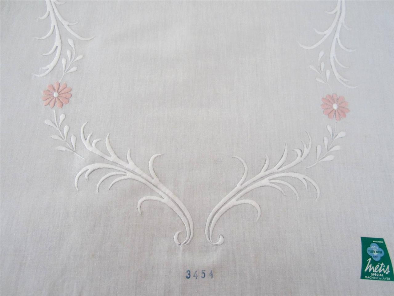 French linen embroidered fabric metis fleur bleue £
