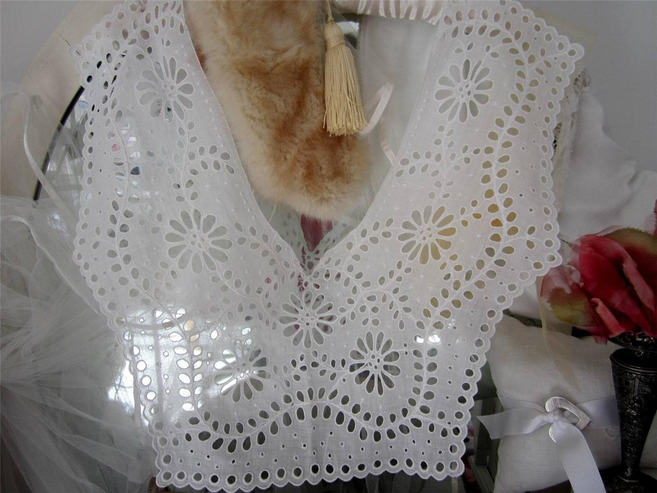 French-Fine-Eyelet-Lace-Antique-Bodice-Piece-Early-1900s