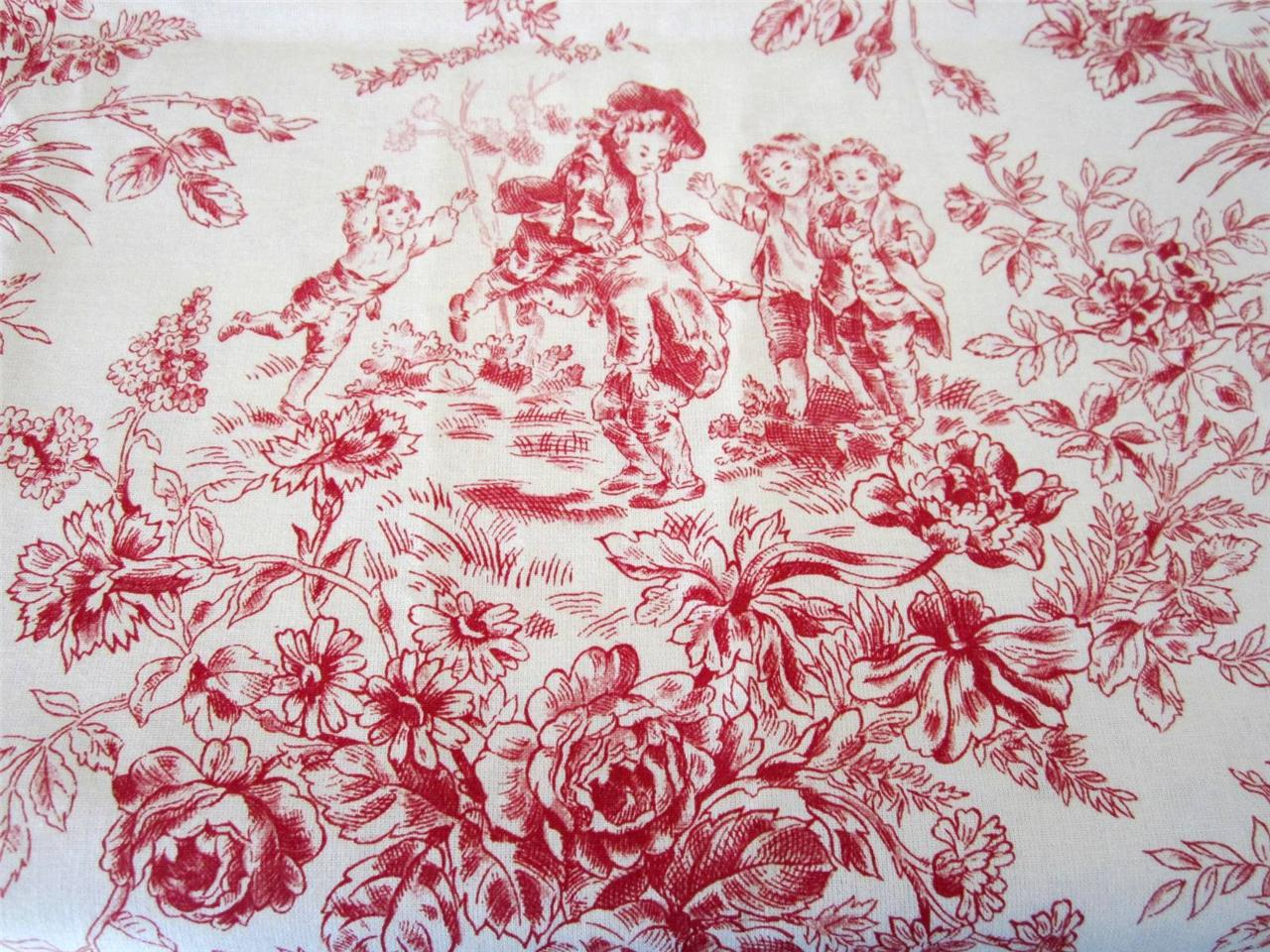 French fabric panel vintage red toile children playing for French toile fabric