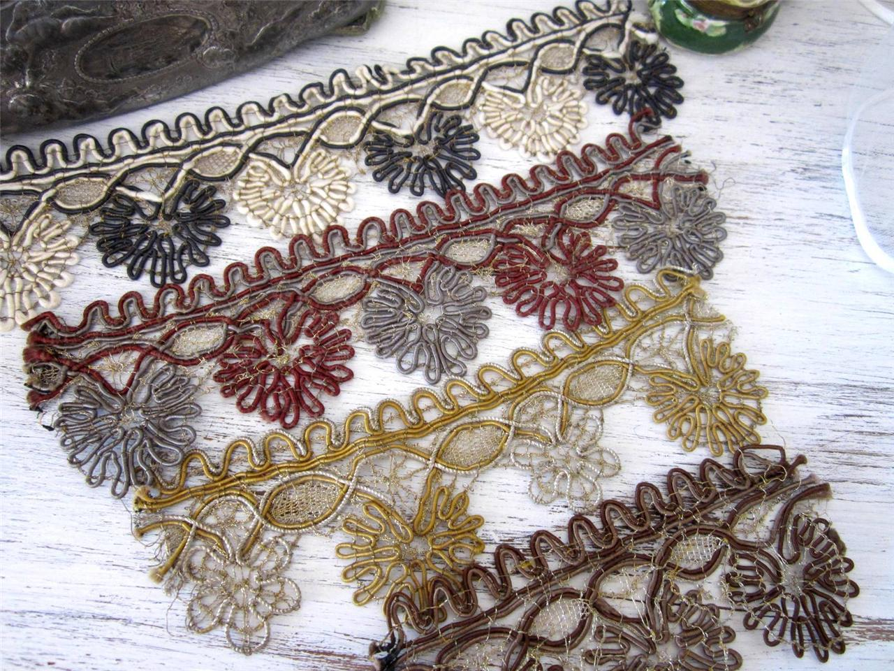 4-Antique-Metallic-Gold-Silk-Lace-Trim-French-4-PCS-Soutache-Silk-Trims