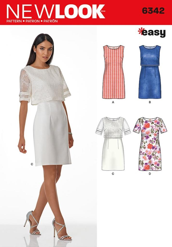 NEW LOOK PATTERN Misses\' Dress with or without Overbodice SIZE 8 ...
