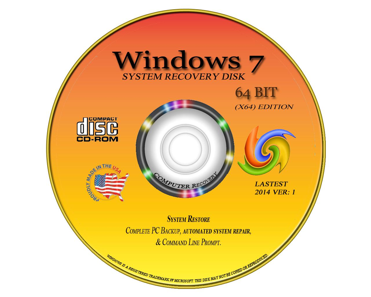 window 7 64 bit system recovery software disc new 2014. Black Bedroom Furniture Sets. Home Design Ideas