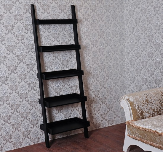 Wood Leaning Ladder Bookcase Wall Book Shelf Unique 72 Quot H
