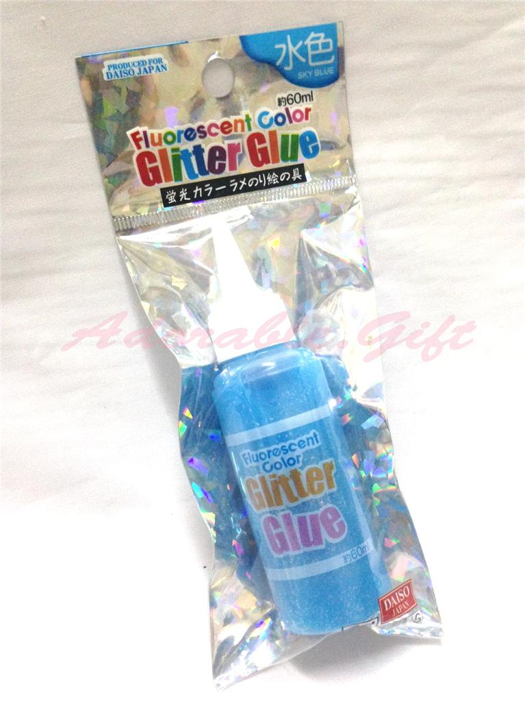 Daiso Japan Fluorescent Color Glitter Glue 60ml Craft Art Card Making Kid Party