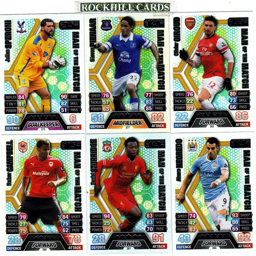 MATCH ATTAX 13 14 CHOOSE YOUR OWN MAN OF THE MATCH 361-390