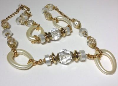 Lawrence Larry Vrba Art Deco Handmade Gilt Links Rope Chain Necklace