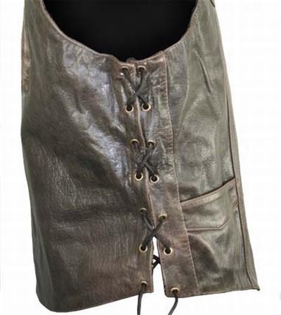 Мужской байкерский кожаный жилет Brown Leather Embossed