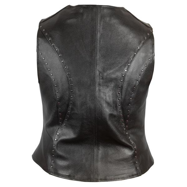 "Женский мото жилет размер M.  ""Xelement Women's Studded Zipper Front Motorcycle Leather Vest."