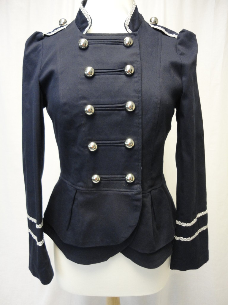 Military-style-lined-jacket-navy-blue-amp-silver-trim-with-nipped-in-peplum-waist