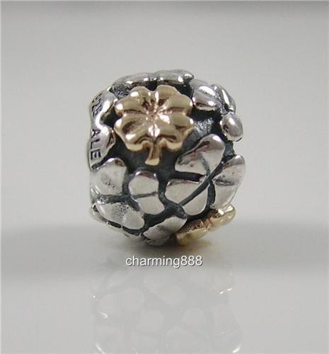 authentic genuine pandora silver 14k gold lucky clover