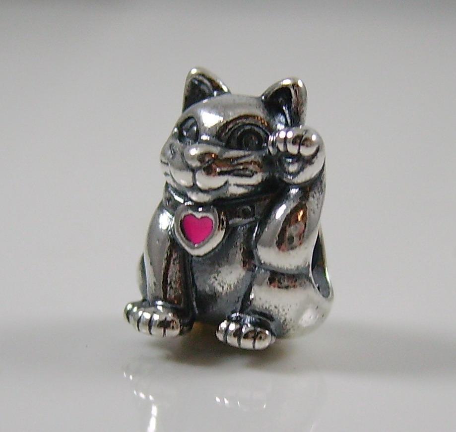 authentic genuine pandora silver lucky cat pink enamel