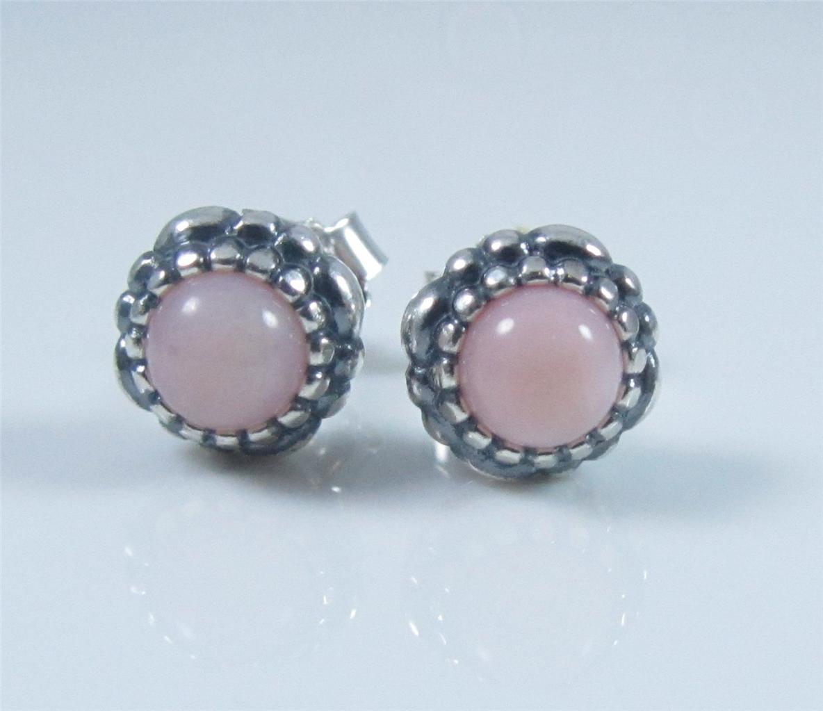 authentic genuine pandora silver pink opal birthstone stud