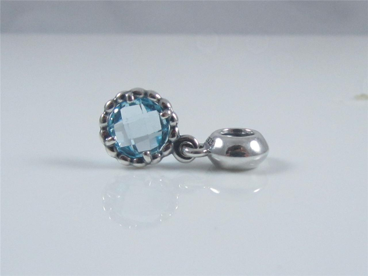 authentic genuine pandora silver cool blue topaz