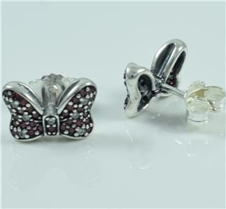 authentic pandora silver disney minnie sparkling bow studs