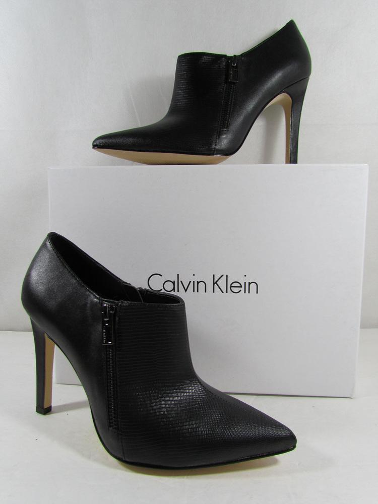 calvin klein womens bessie leather high heel bootie shoes