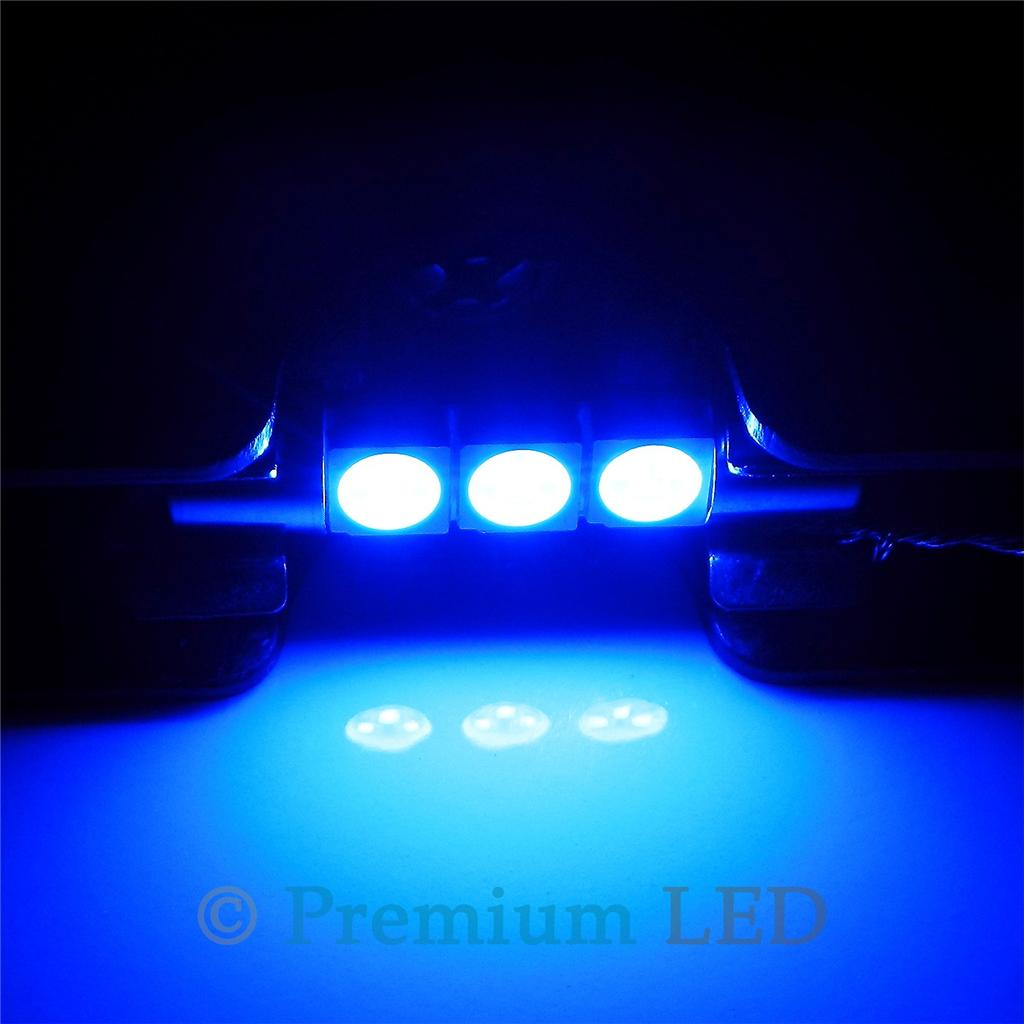 Ultra Blue 3-SMD 6641 LED Bulbs For Car Vanity Mirror Lights Sun Visor Lamp #B25