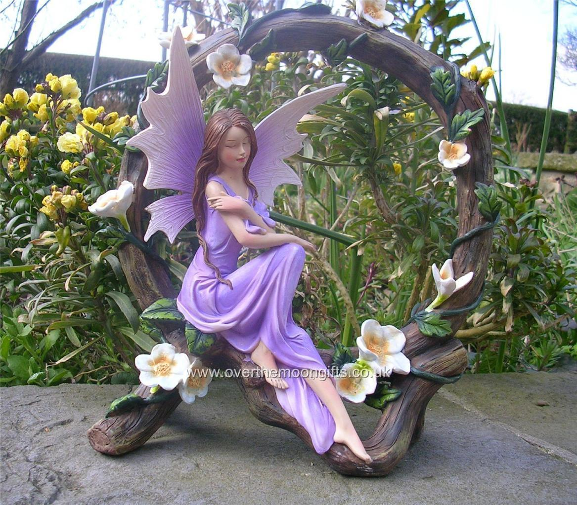 Sweet Wish Flower Fairy Faerie Garden Sat In Branch Circle PK97