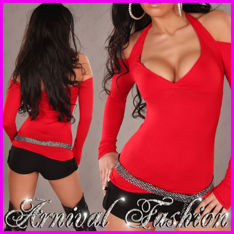 NEW-SEXY-WOMENS-CASUAL-CLOTHING-V-NECK-TOP-size-6-8-10-LADIES-CLUBWEAR