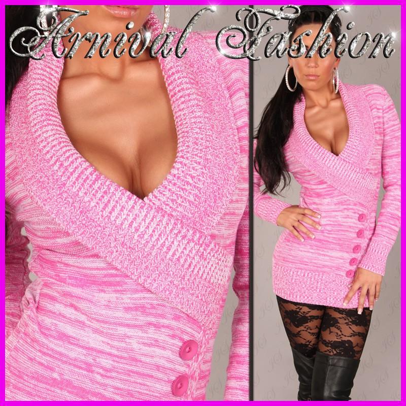 NEW-SEXY-WOMENS-JUMPER-DRESS-sz-6-8-10-12-14-LADIES-CASUAL-SWEATER-TOP-pink-grey