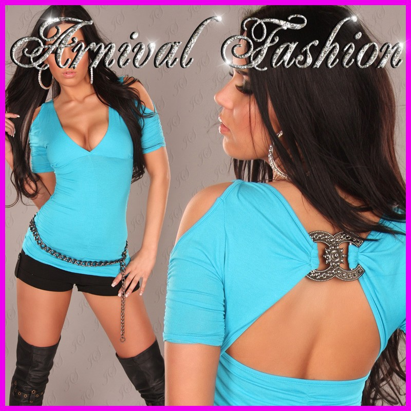 NEW-SEXY-WOMENS-FASHION-TOP-sz-8-10-12-HOT-LADIES-CASUAL-SHIRT-blue-CLUBWEAR-S-M