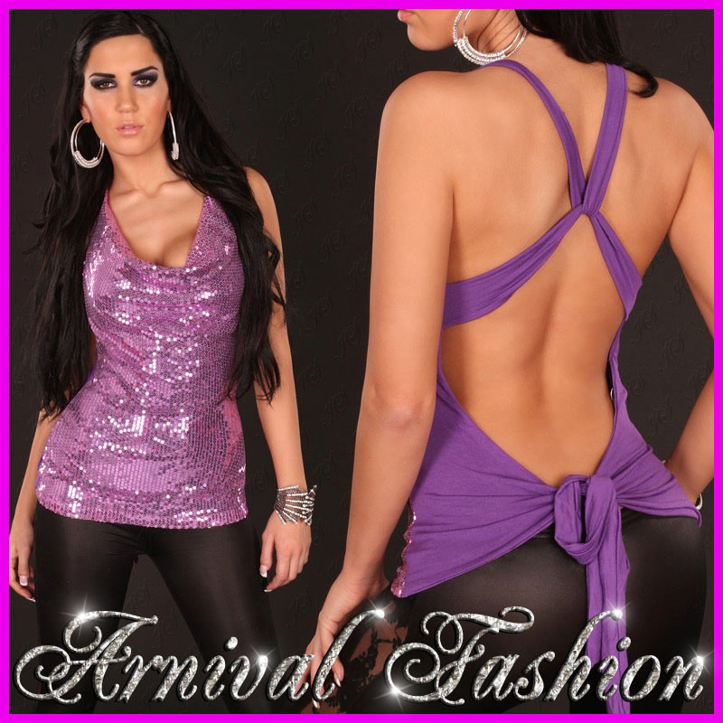 NEW-WOMENS-SEXY-SEQUIN-TOP-sz-8-10-12-LADIES-EVENING-WEAR-PARTY-WRAP-SHIRT-S-M-L