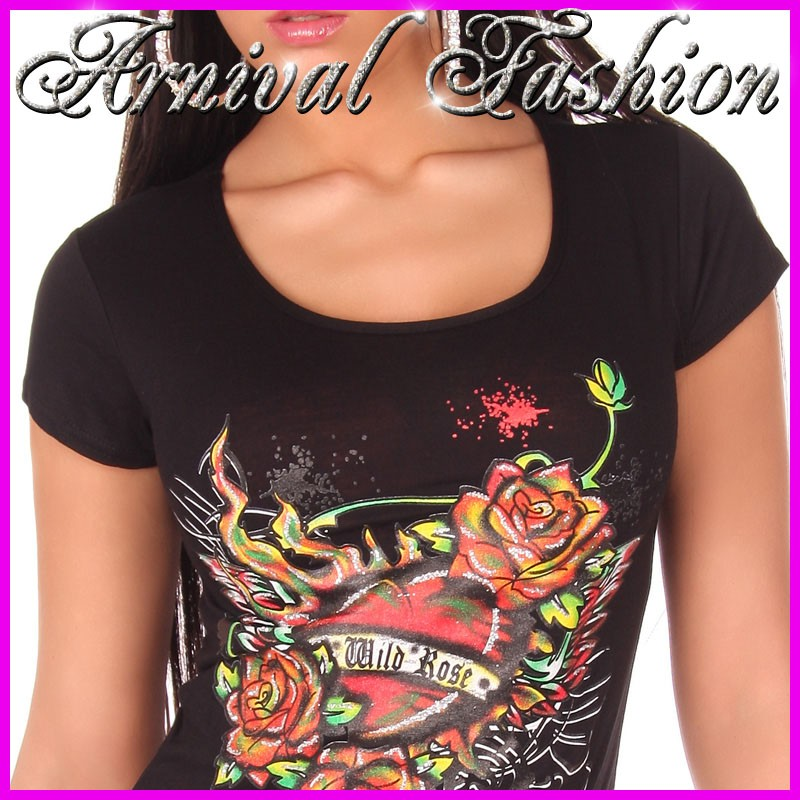 New sexy womens tattoo print t shirt ladies casual short for Tattoo sleeve shirts for women