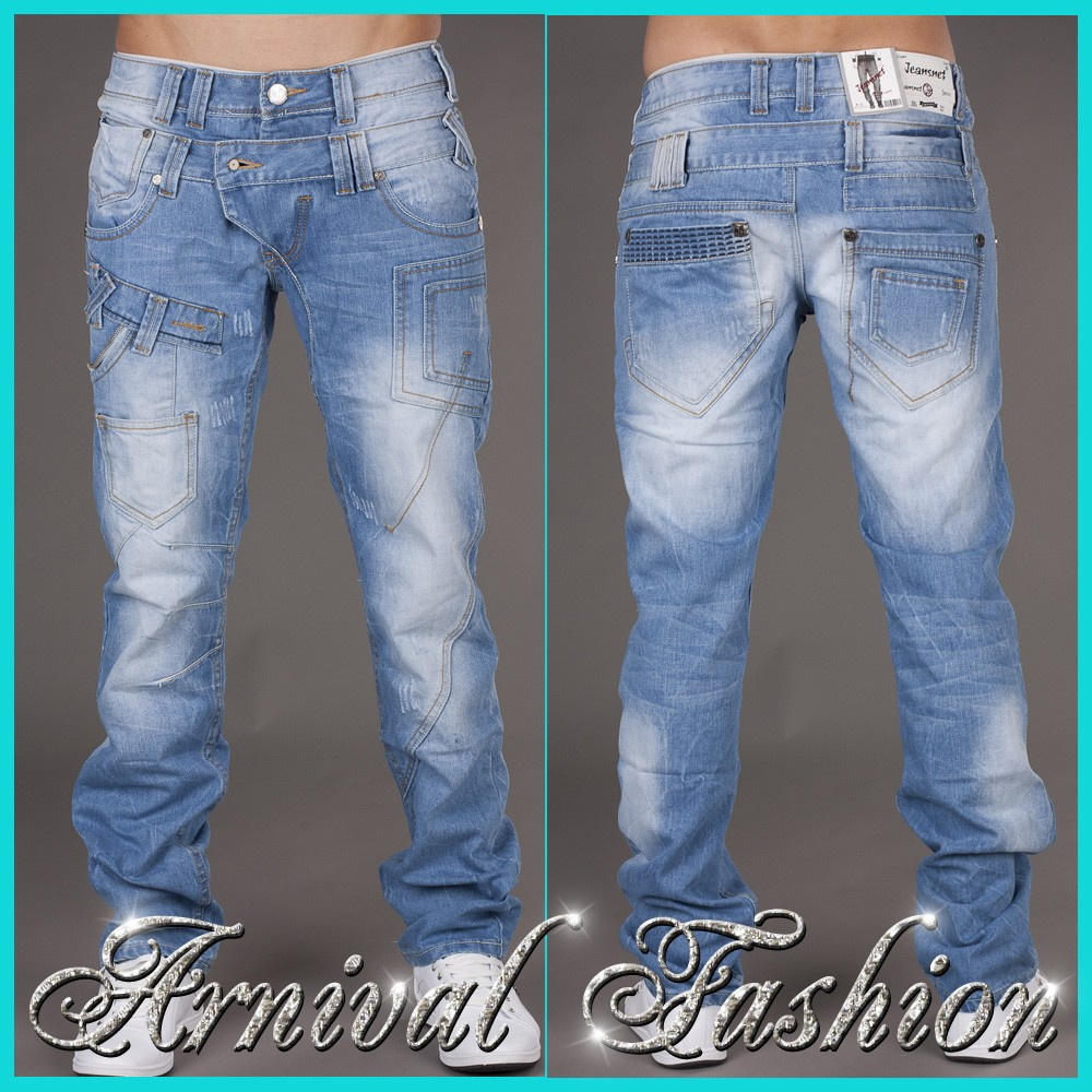 These stretch New London jeans have 5 pockets, a zip fly and a slim fit. Leather label has bled into the waistband - evident both sides of the waistband. The inseam is from bottom of jeans to where the inseam intersects the rise seam.